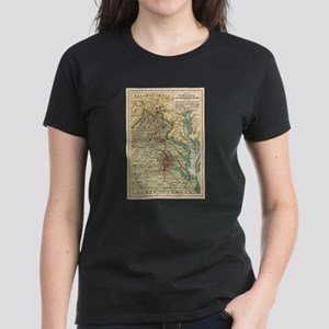 Vintage Virginia Civil War Battlefield Map T-Shirt