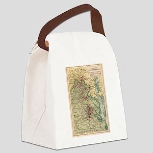 Vintage Virginia Civil War Battle Canvas Lunch Bag
