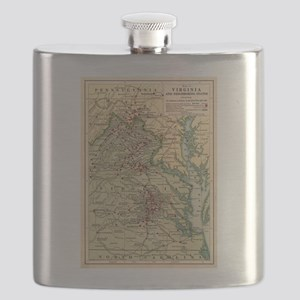 Vintage Virginia Civil War Battlefield Map ( Flask