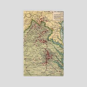 Vintage Virginia Civil War Battlefield Ma Area Rug
