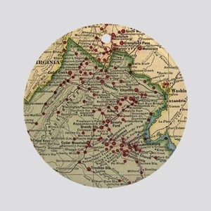 Vintage Virginia Civil War Battlefi Round Ornament