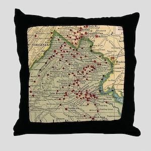Vintage Virginia Civil War Battlefiel Throw Pillow