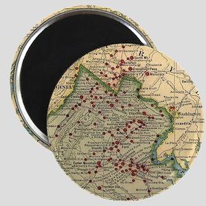 Vintage Virginia Civil War Battlefield Map Magnets