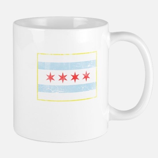 Vintage Distressed Chicago Flag Mugs