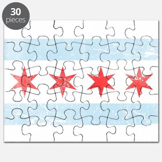 Vintage Distressed Chicago Flag Puzzle