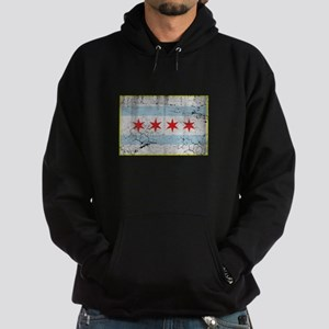 Vintage Distressed Chicago Flag Hoodie (dark)