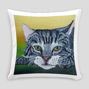 Grey Tabby Cat Everyday Pillow