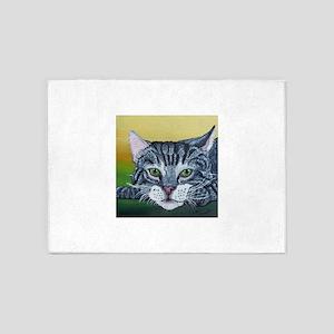 Grey Tabby Cat 5'x7'Area Rug
