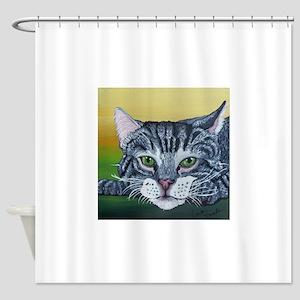 Grey Tabby Cat Shower Curtain