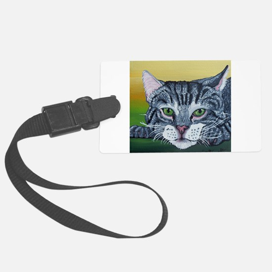 Grey Tabby Cat Luggage Tag
