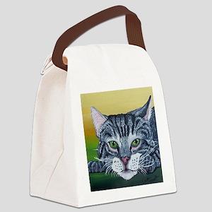 Grey Tabby Cat Canvas Lunch Bag
