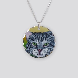 Grey Tabby Cat Necklace Circle Charm