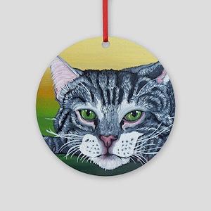 Grey Tabby Cat Round Ornament