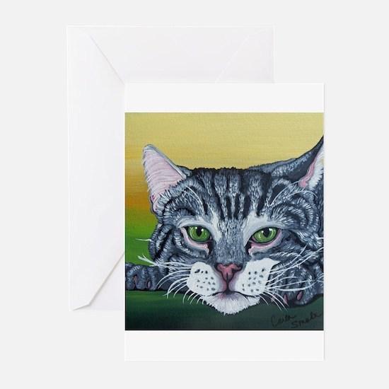Grey Tabby Cat Greeting Cards
