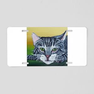 Grey Tabby Cat Aluminum License Plate