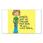 Emo Is Just An Excuse For Boy Sticker (Rectangular