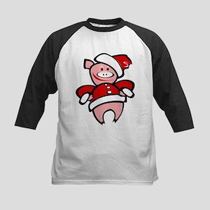 Christmas Pig Kids Baseball Jersey