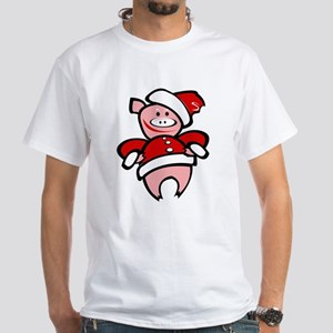 Christmas Pig White T-Shirt