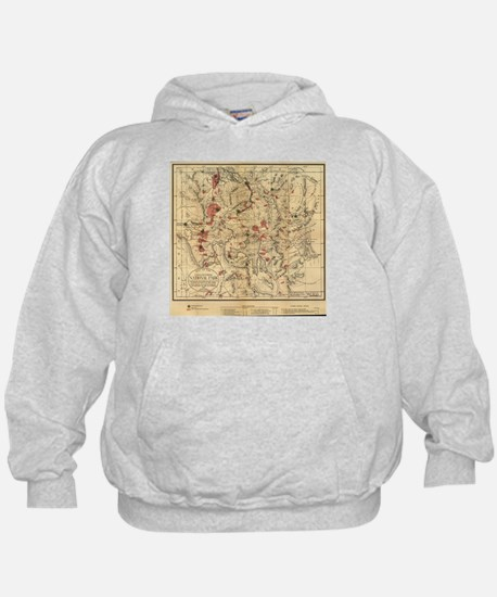 Vintage Map of Yellowstone National Pa Hoody