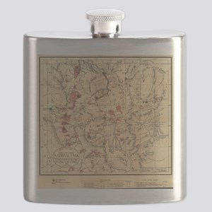 Vintage Map of Yellowstone National Park (18 Flask