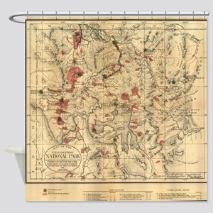 Vintage Map of Yellowstone National Shower Curtain
