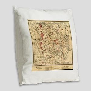 Vintage Map of Yellowstone Nat Burlap Throw Pillow