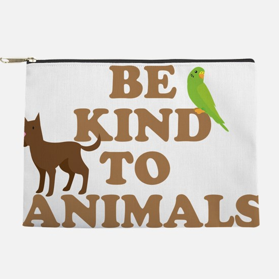 BE KIND TO ANIMALS with green budgie an Makeup Bag