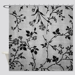 Vintage Black and White Shower Curtain