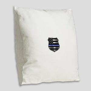 Blue Lives Matter Burlap Throw Pillow