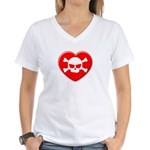 Skull and heart Women's V-Neck T-Shirt