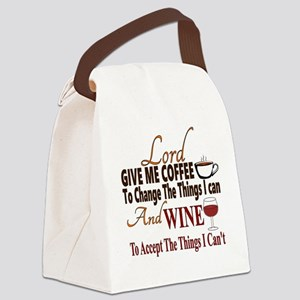 Lord give me coffee and wine Canvas Lunch Bag