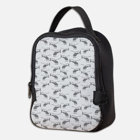 Helicopters Gray Neoprene Lunch Bag