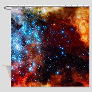 Orange Nebula Shower Curtain