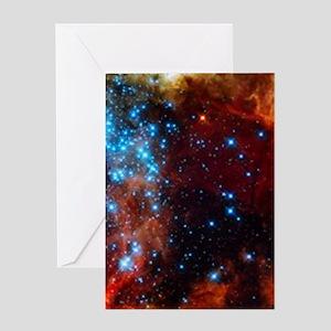 Orange Nebula Greeting Cards