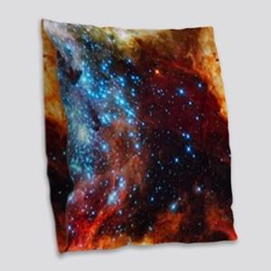 Orange Nebula Burlap Throw Pillow