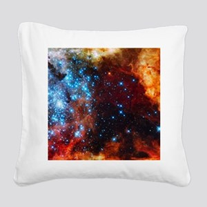 Orange Nebula Square Canvas Pillow