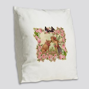 Good Luck Fairy Burlap Throw Pillow
