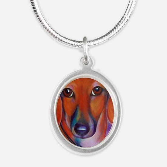 Cute Daschund Silver Oval Necklace