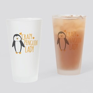 Crazy Penguin Lady Drinking Glass