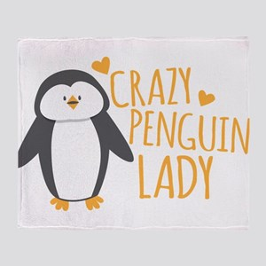 Crazy Penguin Lady Throw Blanket