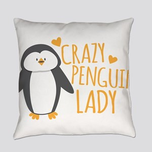 Crazy Penguin Lady Everyday Pillow
