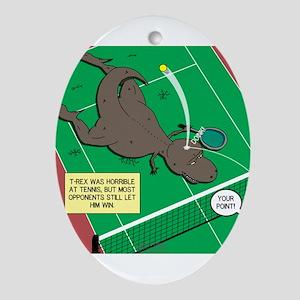 T-Rex Tennis Oval Ornament