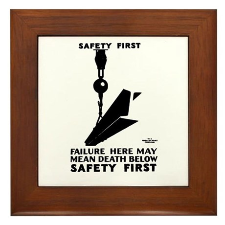 Safety First 1937 Framed Tile