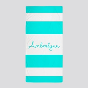 Turquoise Stripes Personalized Beach Towel