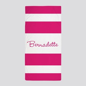 Pink Stripes Personalized Beach Towel
