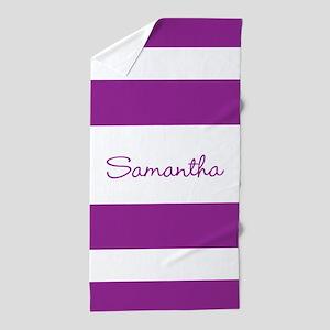 Purple Stripes Personalized Beach Towel