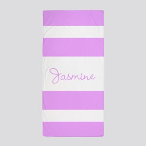 Light Purple Stripes Personalized Beach Towel
