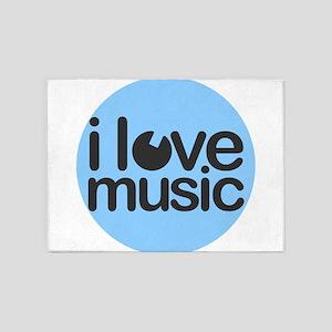 I Love Music Blue 5'x7'Area Rug