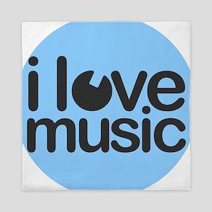 I Love Music Blue Queen Duvet