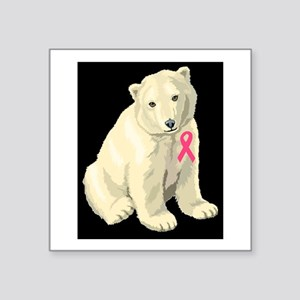 breast cancer pink ribbon polar beard Sticker
